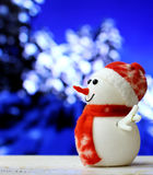 Christmas Snowman on bokeh background. Stock Photos