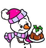 Christmas Snowman Cake cartoon illustration Stock Image