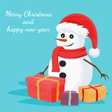 Christmas snowman card design. Vector. Christmas snowman card design of Merry Christmas and happy new year with gift boxes and ornaments. Vector illustration Stock Photography