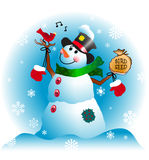 Christmas Snowman with Cardinal. Snowman with Cardinal Friend in a Winter Wonderland Royalty Free Stock Photography
