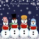 Christmas Snowman Carolers Singing. Blue Background royalty free illustration