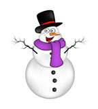 Christmas snowman cartoon design for card. Winter icon, symbol vector illustration  on white background. Royalty Free Stock Images