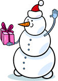 Christmas snowman cartoon illustration Royalty Free Stock Image