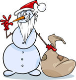Christmas snowman cartoon illustration Stock Image