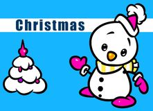 Christmas snowman cartoon illustration Royalty Free Stock Photos