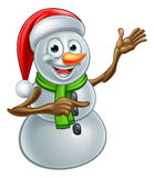 Christmas Snowman Cartoon Santa Hat Character Pointing Stock Images