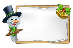 Christmas Snowman Cartoon Sign Royalty Free Stock Images