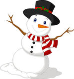 Christmas Snowman cartoon wearing a Hat and red scarf Stock Photos