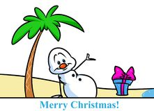 Christmas snowman character beach vacation palm tree cartoon Royalty Free Stock Photography