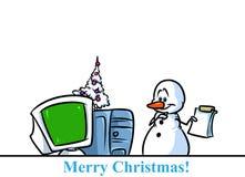 Christmas snowman character computer cartoon Royalty Free Stock Photo