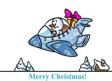 Christmas snowman character fighter plane gifts cartoon. Illustration isolated image Royalty Free Stock Image