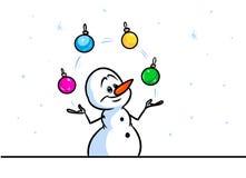 Christmas snowman character juggler balls cartoon Stock Photography