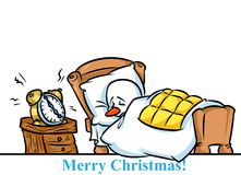 Christmas snowman character  sleeping bed alarm clock cartoon Royalty Free Stock Photography