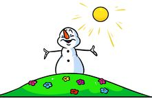 Christmas snowman character summer flowers cartoon Royalty Free Stock Photography