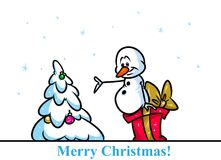 Christmas snowman character tree gift cartoon Royalty Free Stock Images