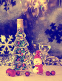 Christmas snowman, Christmas toys, alcohol, retro, old style, Stock Images