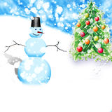 Christmas snowman christmas tree Stock Images