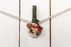 Christmas snowman clothespin Royalty Free Stock Photos