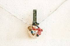 Christmas snowman clothespin Royalty Free Stock Images