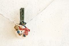 Christmas snowman clothespin Royalty Free Stock Photography