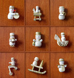 Christmas Snowman Collection. Vintage, wooden christmas decorati Royalty Free Stock Images