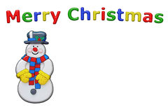 Christmas Snowman With Copy Space. Christmas snowman character with copy space on an isolated white background with a clipping path Royalty Free Stock Photo
