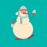 Christmas snowman dancing and waving his hand in greeting pose. Cute cartoon cheerful and smiling snow man character. Xmas holiday flat style vector Royalty Free Stock Images