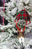 Christmas snowman decoration hanging on tree Royalty Free Stock Image
