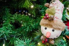 Christmas snowman decoration on the Christmas tree. Close up of the Christmas snowman decoration on the Christmas tree Royalty Free Stock Photos