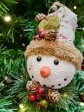 Christmas snowman decoration on the Christmas tree. Close up of the Christmas snowman decoration on the Christmas tree Stock Photo