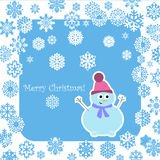 Christmas snowman with decorative snowflakes Royalty Free Stock Image