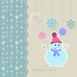 Christmas snowman with decorative snowflakes Stock Photos