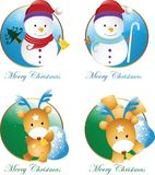 Christmas snowman and deer Stock Photos