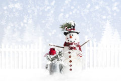 Christmas Snowman. A snowman dressed in festive Christmas hat standing beside tin watering can with red cardinal nesting in evergreen sprigs. Water from can has Royalty Free Stock Photography