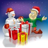 Christmas snowman and dwarf Stock Image