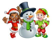 Christmas Elf Santas Helpers and Snowman. Christmas Snowman and Elf Santas Helpers cartoon characters Royalty Free Stock Images