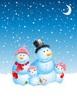 Christmas snowman family. Illustration Royalty Free Stock Image