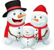 Christmas Snowman family Stock Image