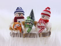 Christmas Snowman Family - Stock Photo Royalty Free Stock Image