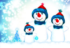 Christmas, snowman and family. Christmas, snowman and christmas tree royalty free stock photos