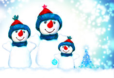 Christmas, snowman and family. Christmas, snowman and christmas tree royalty free stock photo