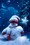 Christmas snowman and fir branches covered with snow Royalty Free Stock Images