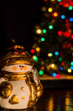 Christmas snowman. With garland on background Stock Image