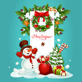 Christmas snowman with gift greeting card design Stock Photo