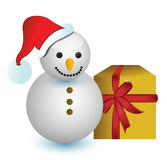 Christmas snowman with gift illustration Stock Image