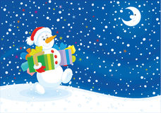 Christmas Snowman with gifts Stock Photography