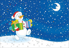 Christmas Snowman with gifts Stock Photo