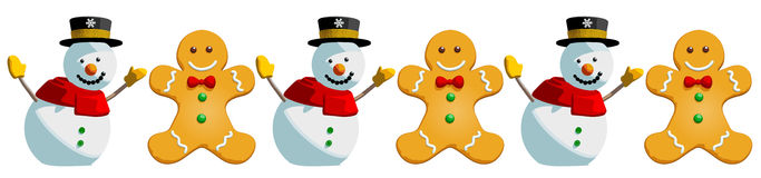 Christmas Snowman and Gingerbread Man Cookies Holiday Pattern -. Christmas snowman gingerbread man cookies. This is a vector illustration pattern  on white Royalty Free Stock Photography