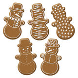 Christmas snowman gingerbread. With white sugar topping Royalty Free Stock Images