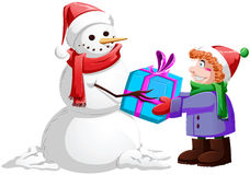 Christmas Snowman Gives Present To Boy. A illustration of a snowman giving a present to a child for Christmas stock illustration